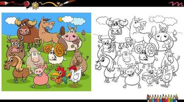 cartoon farm animal characters group coloring book page vector