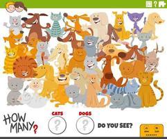 cuántos perros y gatos juego educativo para niños. vector