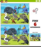 differences educational game with cartoon birds vector