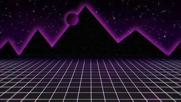 movimento sfondo astratto retrò, griglia viola e montagna video