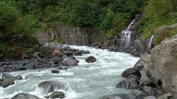 ver cenas de rio na floresta, parque nacional de dombai, cáucaso, rússia