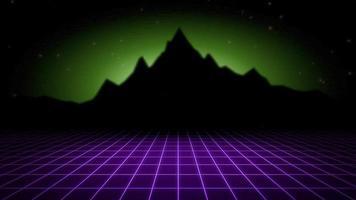 fundo abstrato retro do movimento, grade roxa e montanha video