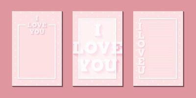 tarjeta de felicitación minimalista tipografía de fondo rosa te amo con plantilla de vector de mensaje de marco
