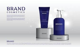 Stainless steel stand for cosmetic products with background silver color and bokeh vector illustration