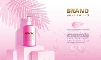 Pink marble podium stand for display of cosmetic products and skin creams with background and 3d packaging vector illustration