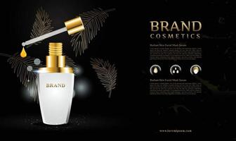 Elegant golden leaf background for cosmetic products with 3d packaging vector