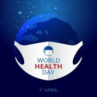 World health day, pollution concept with mask vector