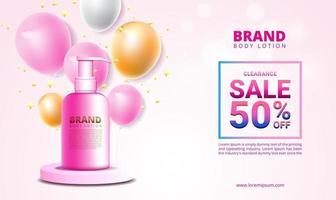 Banner de venta y promoción para productos cosméticos con plantilla de diseño de vector de confeti de globo