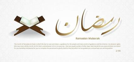 Ramadan is the month of reading the quran with vector illustrations in Arabic calligraphy