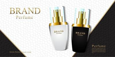 Black and white leather background for cosmetic perfume with 3d packaging vector illustration