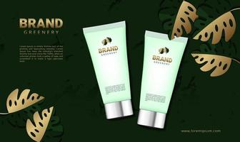 Luxury greenery background for cosmetics product with 3d packaging vector