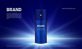 Dark blue and lighting background with men's sport cosmetics product vector