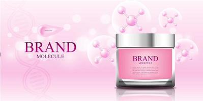 Cosmetic molecule pink background with 3d packaging vector illustration