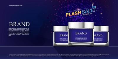 Sale promotion of cosmetics with dark background and sparkling colors vector