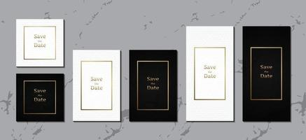 Luxury wedding invitation card, black and white leather template vector