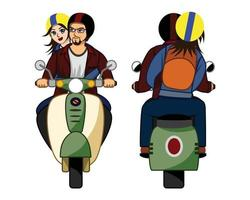 Vector illustration of couples, women and men riding new motorcycles