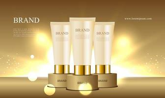Golden podium with cosmetic collection with tube and lighting illustration vector