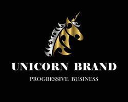 unicorn head branding design vector