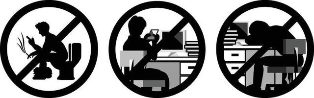 signs set for do not play with phone during working hours vector