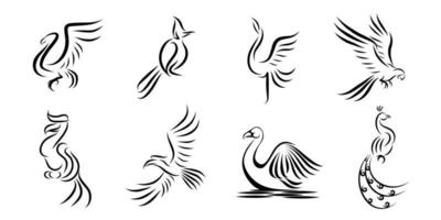 Set of eight vector images of different birds