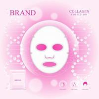 Mask collagen serum ad with pink background vector