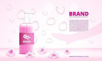 Cherry blossom cleanser ad with dropper and hand silhouette vector