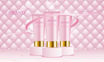 Pink uphostery background with podium cosmetics product vector