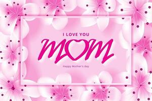 Banner happy mothers day with pink flowers vector