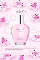 Ad for cherry blossom perfrume with pink waterdrops vector