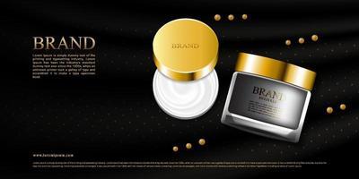 Crema de lujo para el cuidado de la piel con seda negra y paquete 3d vector