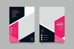 Modern dark geometric business flyer template vector