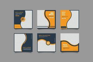 Sport marketing social media post template bundle vector