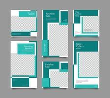 Digital branding marketing social media post template set vector