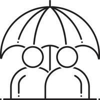 icono de línea de seguro de vida permanente vector