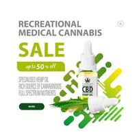 Recreational medical cannabis, white and green discount pop-up for website with CBD oil bottle with pipette and green liquid abstract background vector