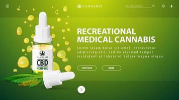 Cannabis medicinal recreativo, plantilla verde de banner de descuento para sitio web con botella de aceite de cbd con pipeta sobre fondo de gotas de aceite de cbd vector