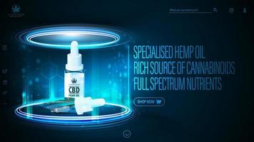Dark and blue digital header for website with CBD oil bottle with pipette. Poster with dark neon scene with neon podium and hologram of CBD oil inside vector