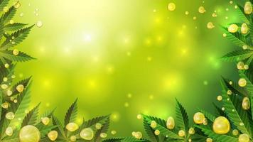 Cannabis oil gold bubbles on green blurred background with cannabis leafs, realistic vector effect.