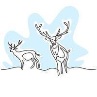 dibujo de una línea continua de dos renos. dos ciervos en el bosque de diseño minimalista aislado sobre fondo blanco. concepto de animal de invierno dibujado a mano arte lineal ilustración de dibujo de vida silvestre vector