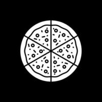Cut slices of pizza dark mode glyph icon vector