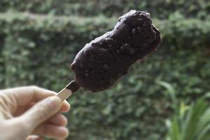 Ice cream covered with chocolate