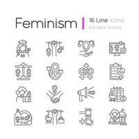 mujeres en el gobierno conjunto de iconos lineales vector