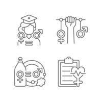 igualdad de oportunidades de educación conjunto de iconos lineales vector