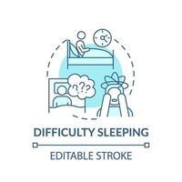 icono de concepto de dificultad para dormir vector