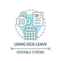 Using sick leave concept icon vector