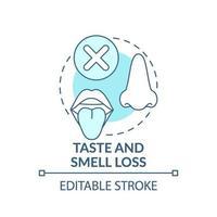 perdiendo el gusto y el olfato concepto icono vector