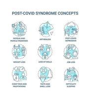 Conjunto de iconos de concepto de síndrome post-covid vector