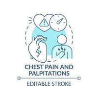 icono de concepto de dolor de pecho y palpitaciones vector