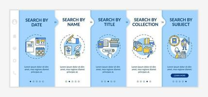 Online library search types onboarding vector template
