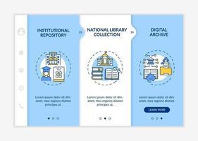 Types of digital libraries onboarding vector template